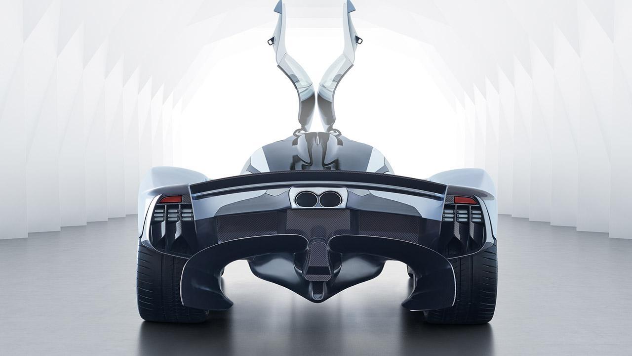 Aston Martin Valkyrie -  Heckansicht mit offenen Türen